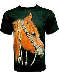 Rock Chang T-Shirt * Brown Horse * Cheval Brun * Noir R675