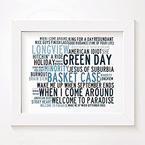 `Crystalline` Art Print - GREEN DAY - Signed & Numbered Limited Edition Typography Unframed 10x8 Inch Singles Wall Art Print - Song Lyrics Mini