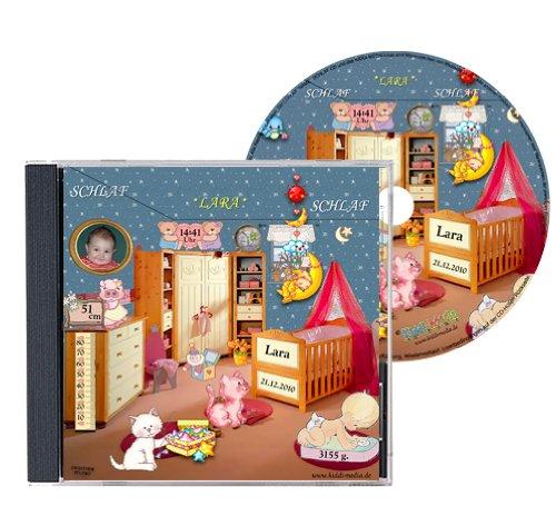 Personalisierte SCHLAFLIED CD gesungen mit dem Namen IHRES Kindes + Foto (Portrait-Photo auf CD Cover) / Jeder Wunschname möglich - Inkl. GRATIS A4 Geburtsbild mit Geburtsdaten