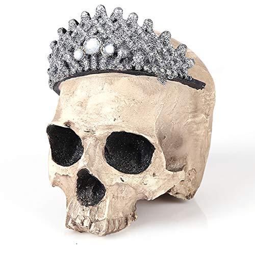 l Statue Kopf Knochen tragen Krone Hause Halloween dekor Schreibtisch Ornament kreative Geschenk schädel Figur ()