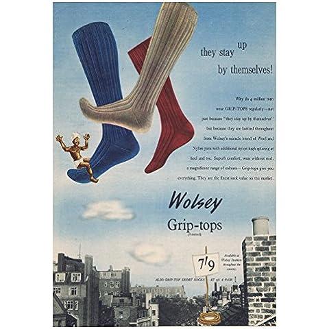 2 - Wolsey calcetines de la vieja escuela comercial Retro Vintage Posters de fotos impresión tamaño A3