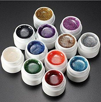 LIFECART 12 Couleur acrylique conseils Colle Set Kit Nail Art Paillettes Vernis gel UV Top coat Builder Poudre