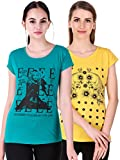 NIVIK Women's Printed Cotton Summer wear t-Shirts Combo of 2 (Green, Yellow) (Large)