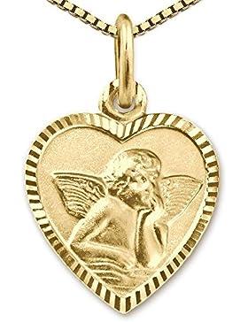 CLEVER SCHMUCK-SET Goldener Anhänger Herz 11 x 10 mm schmal mit Engel klassisch seidenmatt Rand glänzend diamantiert...