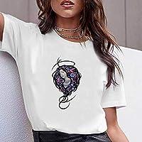 LuoMei Camiseta Estampada Blanca Jersey de Manga Corta con Cuello en o para Mujer Camiseta de Algodón Puro para Mujer Camiseta con Fondo para Mujer Camiseta de Verano para MujerComo se muestra, XL