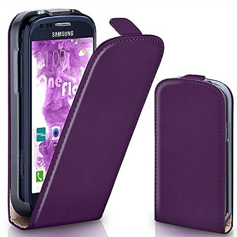 Samsung Galaxy S3 Mini Hülle Lila [OneFlow 360° Klapp-Hülle] Etui thin Handytasche Dünn Handyhülle für Samsung Galaxy S3 Mini S III Case Flip Cover Schutzhülle Kunst-Leder