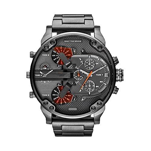 TOFOCO Di lusso da uomo in acciaio inox orologio analogico al quarzo di orologi da polso Doppio fuso orario