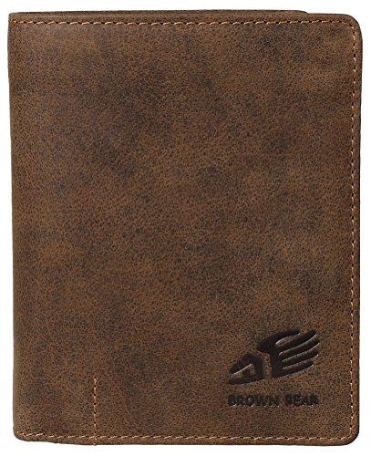 Brown Bear Geldbörse Leder Braun Vintage Hochformat hochwertig Damen Geldbeutel Herren Portemonnaie Frauen Portmonee Männer Portmonaise Cooles Design Used Look