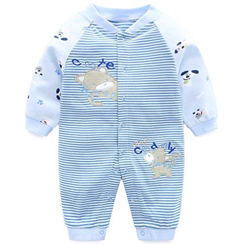 Pyjama Bébé Filles Garçons Combinaisons en Coton Grenouillères Bodys à Manches Longues, 3-6 Mois