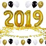 QILICZ 2019 Happy New Year deko Set, Silvester Dekoration - Luftballon, 2019 Anzahl Foil Ballons,Happy New Year Banner und Konfetti golden Tisch Dekoration, deko Ballons Jahr Partei
