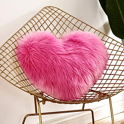Yying fodera per cuscino decorativo a forma di cuore peluche cuscino morbido per matrimonio decorazione di san valentino per soggiorno divano letto (40 * 50cm)