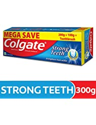 Colgate Strong Teeth Anti-Cavity Toothpaste - 300g with Free Toothbrush (Saver Pack)
