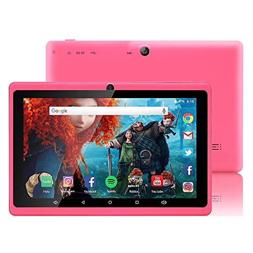 7 Zoll Tablet Google Android 8.1 Quad Core 1024x600 Dual Kamera Wi-Fi Bluetooth 1GB/8GB Play Store NetFilix Skype 3D Spiel Unterstützt GMS Zertifiziert mit Einem Jahr Garantie (Pink) Li-ionen Dual-port
