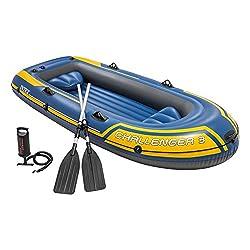 Intex Challenger 3 Set Schlauchboot - 295 x 137 x 43 cm - 3-teilig - Blau / Gelb