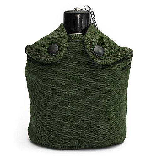 mamaison007-plein-air-tactique-camping-gourde-aluminium-vert-couvercle-gobelet