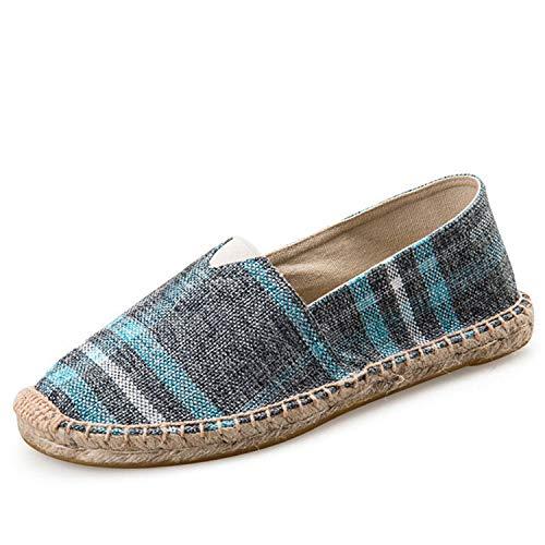 Mens Espadrilles Men Patchwork Slip On Summer Shoes Men Loafers 2019 Breathable Canvas Men Shoes Fashion Jute Wrapped D8083Burlap green9 6.5
