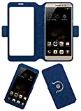 Acm SVIEW Window Designer Rotating Flip Flap Case for Coolpad Max A-8 Mobile Smart View Cover Stand Blue