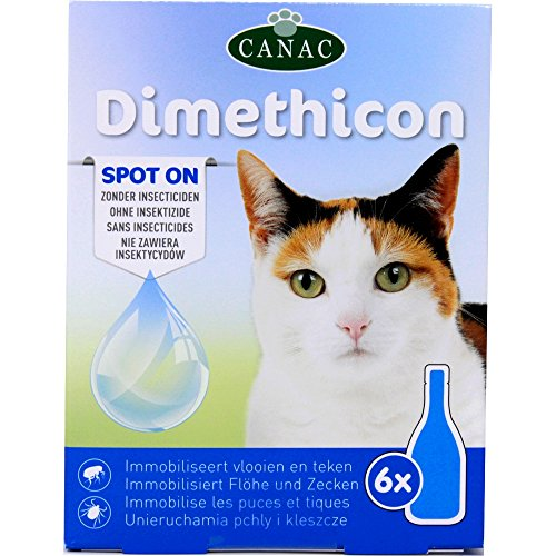 DIMETHICON - 'Spot on' pipette anti zecche e anti pulci per gatti, pipette x 6