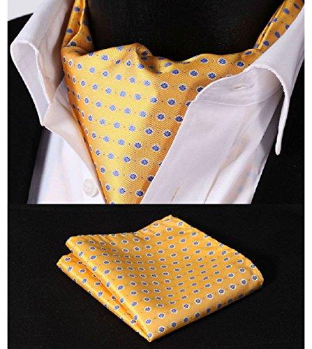 hisdern Herren Floral Jacquard gewebt Ascot Set Gr. Einheitsgröße, Mehrfarbig - Yellow / Blue