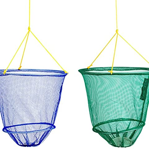 FLADEN Fishing - Set of 2 12in Metal Frame Crab Drop Nets with 10m Line Blue & Green with Spring Clips - For Coastal Shore Rock Pool Crabbing