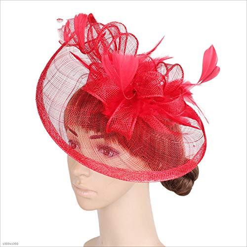 Ich werde jetzt Maßnahmen ergreifen Elegante Hüte der Damen und Damen Damen Braut Federn Haarnadel Zubehör Cocktail Royal Ascot Headwear (Color : Red)
