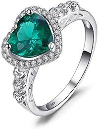Jewelrypalace 1.77ct Herz Grün Simulierte Nano Russisch Smaragd Herz Silberring Ring 925 Sterlingsilber