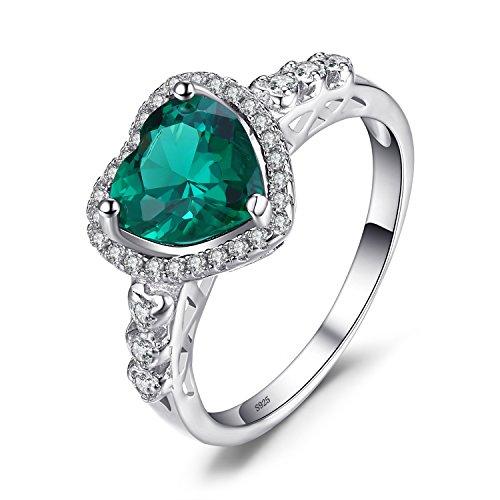 8818bd0d03e7 JewelryPalace Anillo en forma de corazón adornado Nano rusa imitado  esmeralda en plata de ley 925