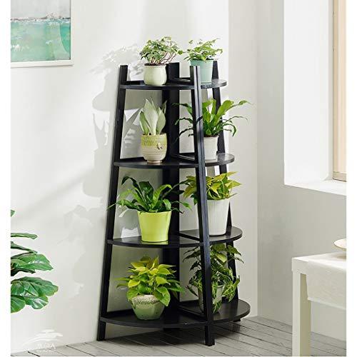 LLYU Escalier de fleurs en bois intérieur stand de fleurs multi-couche stand de plantes (Couleur : NOIR, taille : M)