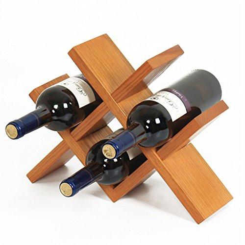 Etagère à bouteille Casiers à vin Libre debout en bois naturel chêne Cabinet Table de salon Petit vin armoire Rangement Vin Étagère Rétro Design Bouteilles, peut contenir 4 bouteilles- 36 X10 X 27 cm