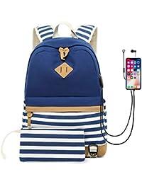 250c466a3 Mochilas Escolares, Mochila de Lona, USB Puerto y Puerto de Auriculares,  Ideal para