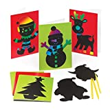 Baker Ross Cartes de Noël à gratter (Paquet de 6) - Loisirs créatifs pour Enfants