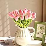 10 Stück JUYUAN-EU Tulpe künstliche Blumen mit Blätter Dekoriere Kunstblumen Latex Real Touch Bridal Wedding Bouquet Home Decor Hell Rosa