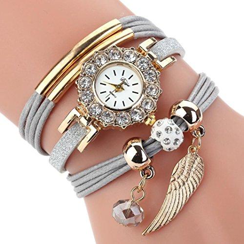 HUIHUI Uhren Damen, Geflochten Armbanduhren Günstige Uhren Wasserdicht Casual Analoge Quarz Uhr Armband Coole Uhren Lederarmband Mädchen Frau Uhr (Grau)