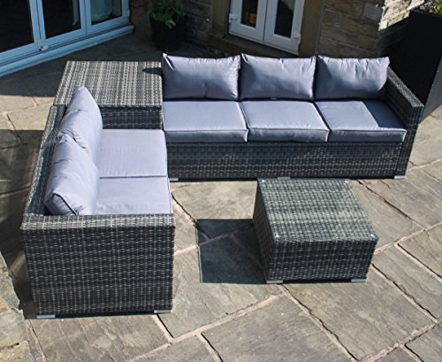 Grey Rattan Outdoor Garden Furniture Corner Sofa ...