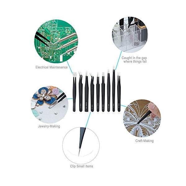 ESD Pinzas Antiestático, Diealles 9 Piezas Pinzas de Precisión Anti-Estáticas