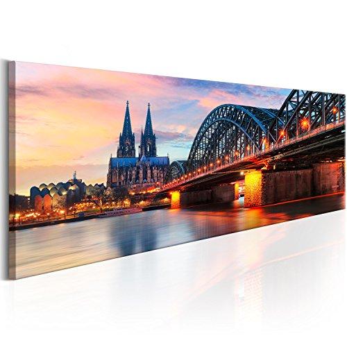murando - Bilder Köln 120x40 cm - Vlies Leinwandbild - 1 Teilig - Kunstdruck - modern - Wandbilder XXL - Wanddekoration - Design - Wand Bild - Stadt Hohenzollernbrücke Köln d-B-0167-b-a