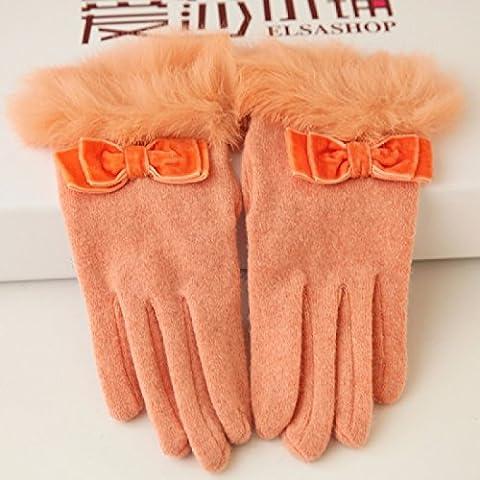 KHSKX Maglia di lana guanti inverno caldo panno maglia bowknot di coniglio capelli guanti donna,arancione