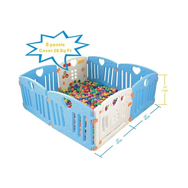 Baby Playpen Kids Activity Centre Safety Play Yard Home Indoor Outdoor New Pen (Multicolour, Classic Set 14 Panel) (Blue 8 Panel) Gupamiga MOM'S LIFESAVER: Keep baby safe in there play centre when mom/dad needs to cook, clean up, go to the bathroom, etc. STURDY HOLDING: Specially designed rubber feet underneath of the yard so the parts don't go sliding around. COVERS A LARGE AREA: It is a great amount of space for baby to learn walk and even laying with baby in it for play time. 7