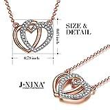 J NINA Guardian of Love Women Pendant Necklace Rose Gold Plated SWAROVSKI crystals Heart Jewellery Nickel-Free