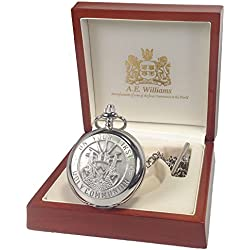 1st Holy Communion Engraved Mother of Pearl Face Pocket Watch in a Quality Wooden Gift Box