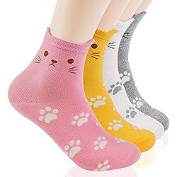 jysense para mujer Cute animal patrón pintura Crazy y divertido calcetines de algodón, búhos perros gatos pintura calcetines de algodón Small Foot Cats 4 Pairs Talla única