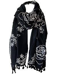 Foulard étole brodé disponible en 4 couleurs noir écru rose bleu