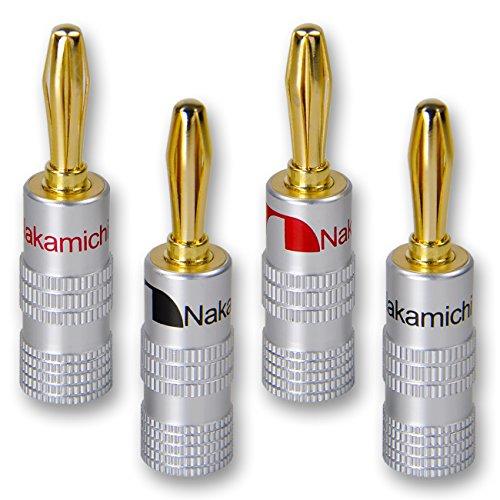 8 x Nakamichi High End Bananenstecker Bananas | 24K vergoldet | Lamellen | BS-345 (Bananen-stecker-receiver)