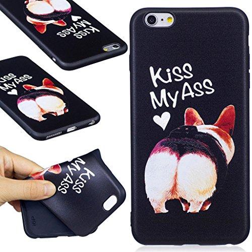 "Coque iPhone 6 Plus / 6S Plus , IJIA Ultra-mince Rouge et Belle Rose Glamorous TPU Noir Doux Silicone Bumper Case Cover Coque Housse Etui pour Apple iPhone 6 Plus / 6S Plus 5.5"" BF37"