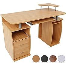 Escritorio de la computadora de escritorio mesa de oficina con bandeja para teclado, 2 de los cajones & Monitor de plataforma (colour)