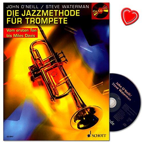 Die Jazzmethode für Trompete - aller Altersstufen den Weg vom ersten Ton bis hin zu klassischen Stücken - Trompeteschule von Steve Waterman mit CD und bunter herzförmiger Notenklammer