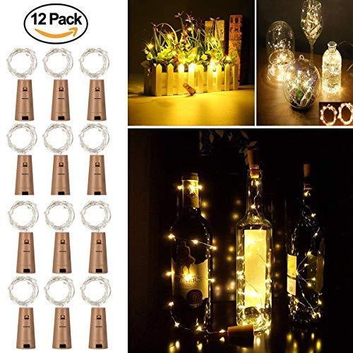 12 Pezzi Luci per Bottiglie, Luce bottiglia Bianco caldo - Luci a catena a LED, Luci a corda romantiche per la decorazione della bottiglia DIY, Festa, Matrimonio, Halloween, Idea regalo e Natale