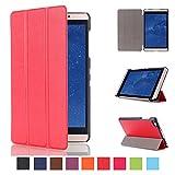 Kepuch Custer Huawei Mediapad M2 8.0 Hülle - Shell Schutzhülle PU Tasche Smart Case Cover für Huawei Mediapad M2 8.0 - Rot