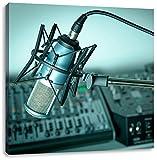 Mikrofon mit Musikanlagen, Format: 40x40 auf Leinwand, XXL riesige Bilder fertig gerahmt mit Keilrahmen, Kunstdruck auf Wandbild mit Rahmen, günstiger als Gemälde oder Ölbild, kein Poster oder Plakat