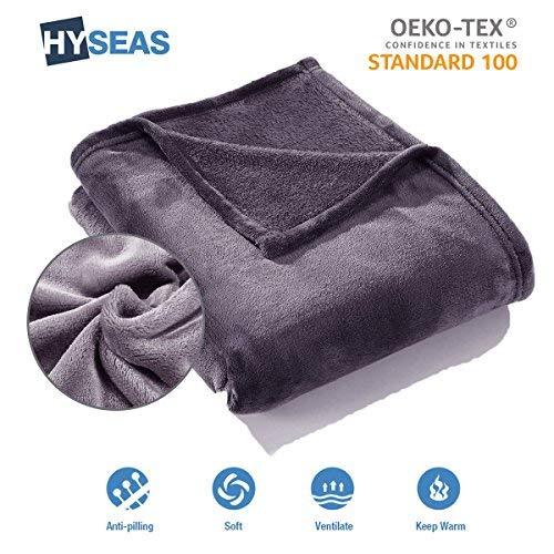 HYSEAS Couverture Douce en Microfibre, 180x220cm Gris Foncé, Chaude Au Toucher Velours pour Canapé Ou Lit, Anti-Arrugas Et Respirant